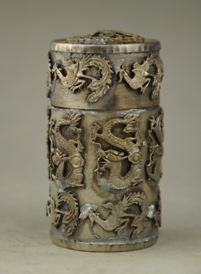 Old Chinese Noble Miao Silver Round Dragon Phoenix Coccoloba Toothpick Box