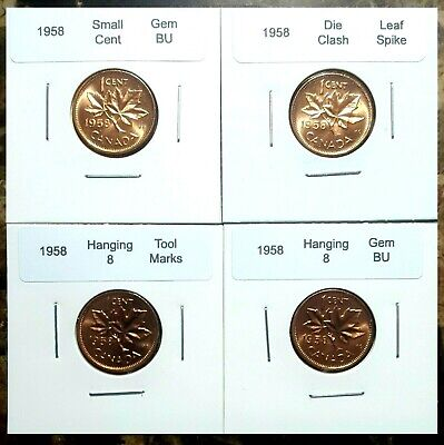 Canada 1958 Small Cent GEM BU Red Variety Set, Hanging 8, Tool Marks & Spike!!