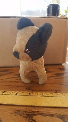 Vintage Stuffed Mohair Wire Hair boston Terrier Dog toy antique french bulldog