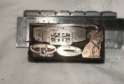 Antique  Letterpress Copper Stamp  Jewlery Ad With Dog