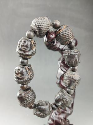 Chinese ebony hand carved Buddha's head bracelet / 16