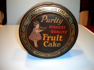 "Antique Litho Tin ""purity Fruit Cake"" 2 Lb Size"