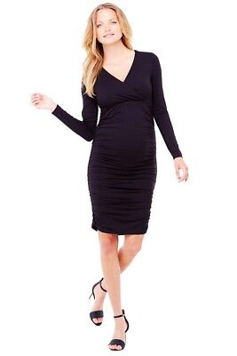 NWT Ingrid & Isabel Empire Shirred V Neck Maternity/Nursing Dress - Lg - Black