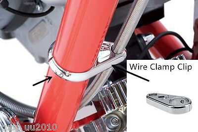 Chrome Alloy 1inch 25mm Bar Brake Clutch Cable Wire Clamp Clip Harley Davidson