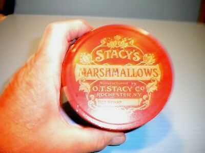 "Antique Litho Tin Can ""stacy's Marshmallows""  Country Store"