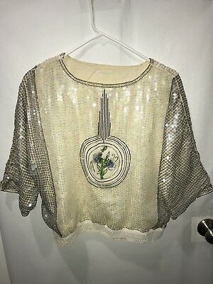 Womens vintage Art Deco Style Beaded Blouse Size Med/large