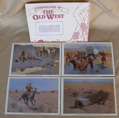 Lithographs Of The Old West - Set of 4 By Frederic Remingtion