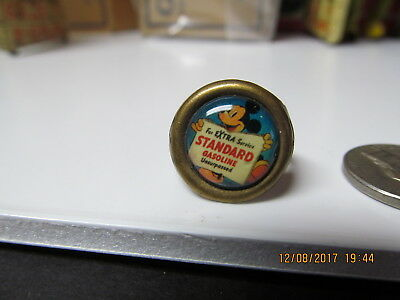 Mickey Mouse Standard Gasoline 1930's Brass Adjustable Promo Ring Excellent Rare
