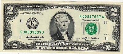 2009  Two Dollar Dallas Texas Federal Reserve Note