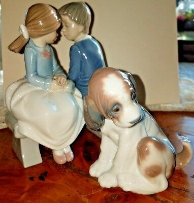 Lladro Nao First Love Boy & Girl On Bench 1990 & Dog Gentle Surprise #6210