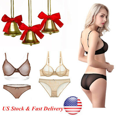 7b4437ebe739d Womens Sheer Bra Set Unpadded Lingerie Mesh lace Bralette Bra Plus Size  Panties
