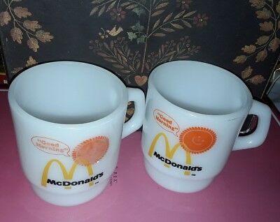 2 Mcdonalds coffee mugs/cups fire king VINTAGE stackable white milk glass