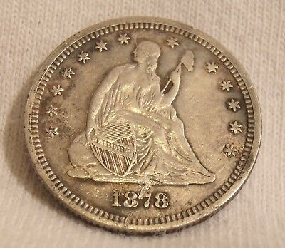 Very Nice 1878 Liberty Seated Silver Quarter Dollar United States Silver Coin