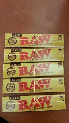 5 Packs Of Authentic Raw Natural Rolling Paper Classic King Size Slim