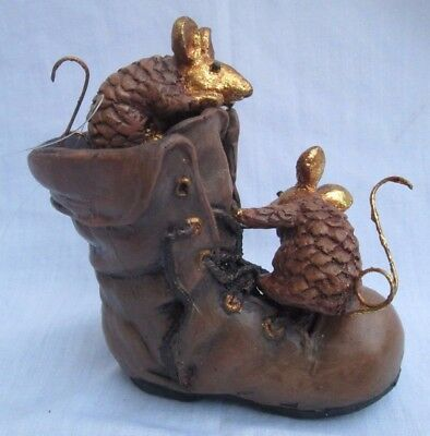 Department 56 Vintage Christmas Ornament 2 PINE CONE MOUSE on Old Brown Boot