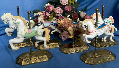 Westminster Carousel Collection Lot - Ceramic Bisque Horses & Lion Brass Base