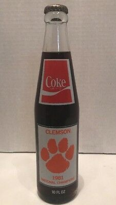 Clemson Tigers 1981 Coca Cola Coke National Championship Bottle Sealed NICE COND