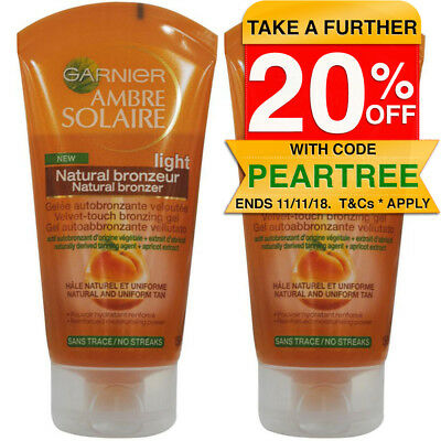 2PK Garnier 150ml Ambre Solaire Natural Bronzer Velvet Touch Gel Self Tan Light