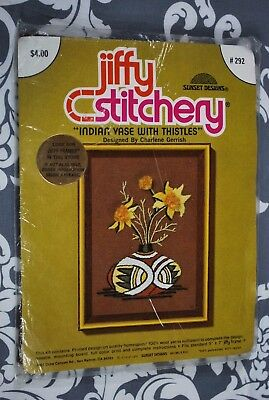 Jiffy Stitchery  #292 Indian Vase With Thistles Vintage Embroidery Kit 5X7 DD801