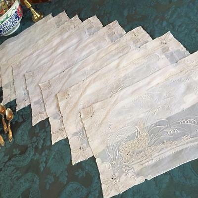 7 Vintage Marghab Deer Pattern Embroidered Madeira Organdy Placemats -No Reserve