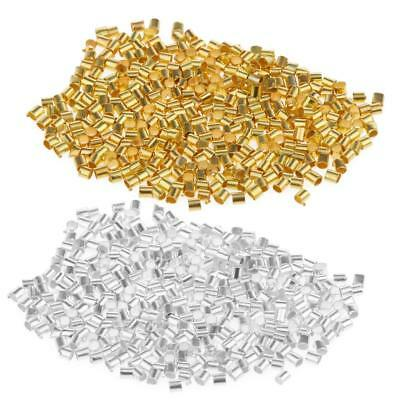 1200x Silver Gold Tube Metal Crimp End Stopper Beads Jewelry Findings 2x2mm