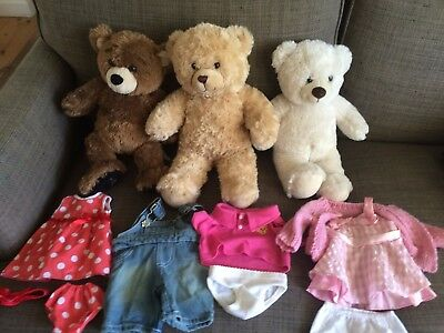 Build a Bear - Three Toy Bears and Four Outfits