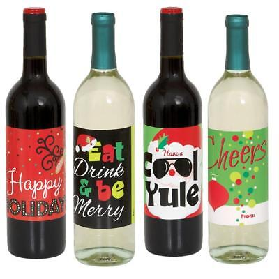 4 Sticker Xmas Wine Bottle Labels/Xmas Party Supplies/Fun Christmas Party