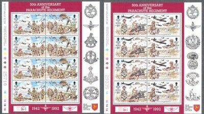Isle of man - parachute Regiment mnh set of 3 sheets -Military-1992-Soldiers