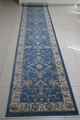 New Extra Long Blue Persian Design Heatset Floor Hallway Runner Rug 80X500Cm