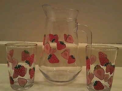Vintage Glass Pitcher and 2 Glasses Strawberry Design