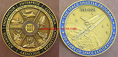 Space Shuttle Medaille mit GEFLOGENEM Material! Alle 6 Space Shuttle! 63mm, 75g!