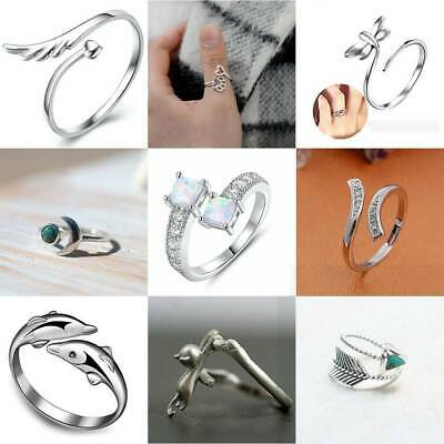 Woman 925 Sterling Silver Cat Band Open Knuckle Rings Party Adjustable Jewellery