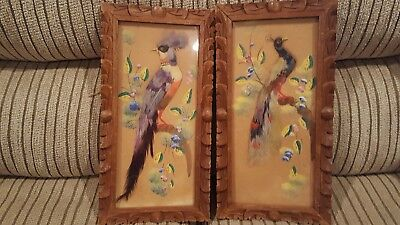 Vintage Pair Of Mexican Feather Art Bird Pictures In Wood Frames with Glass NICE