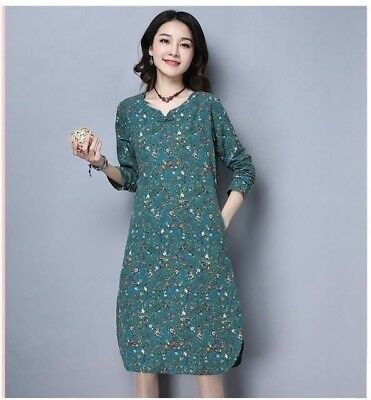 Cotton And Linen Fabric Vintage Style Floral Printed Women Long Dress