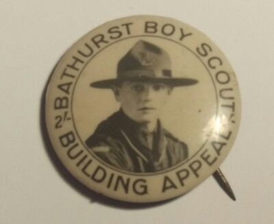 Bathurst Boy Scouts Building Appeal 2/- Appeal Tin Badge / Pin / Tinnie