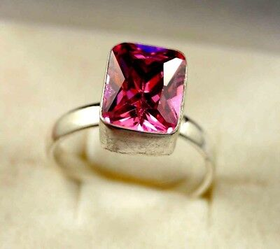 925 Sterling Silver Awesome Looking 21.30 Ct Nice Pink  Zircon Adjustable Ring