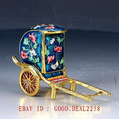Chinese Cloisonne Hand-carved Pull Car Statue JTL068