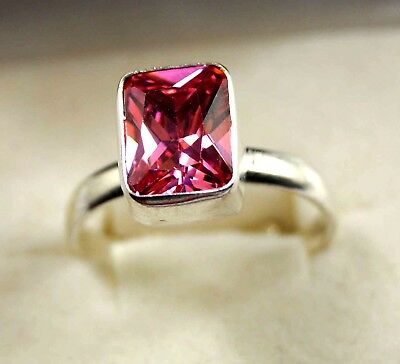 925 Sterling Silver Awesome Looking 20.90  Ct Nice Pink  Zircon Adjustable Ring