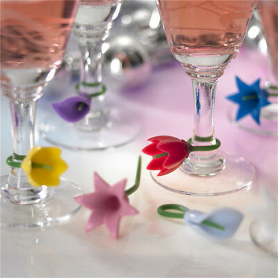 Fashion 6pcs Set Flower Wine Glass Markers Charms Drink Labels Xmas Party Bar
