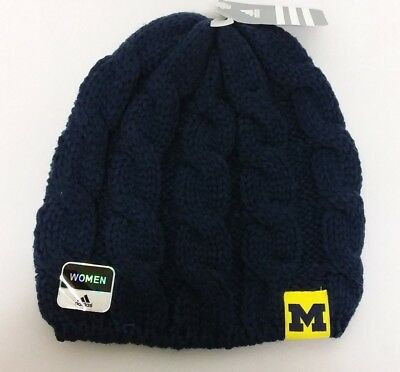 outlet store 910ab c4968 Michigan Wolverines NCAA Women s adidas Winter Cuffless Knit Beanie Hat Cap  NWT