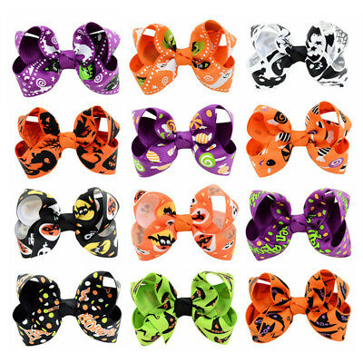 12pcs Halloween Hair Bow Alice Flower Boutique Girls Alligator Clips Grosgrain h