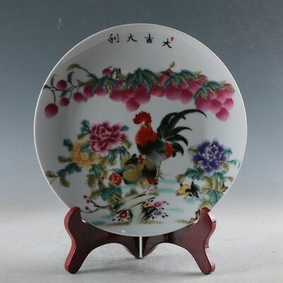 Chinese Porcelain Handmade Cock Plate Made By The Royal of Yongzheng XPZ053