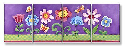 The Kids Room by Stupell Flower Garden On Purple Background 4-Pc. Rectangle Wall