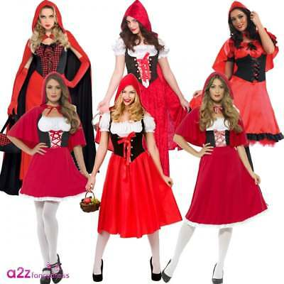 Womens Little Red Riding Hood Costume Fairytale Adult Fancy Dress Book Week Day