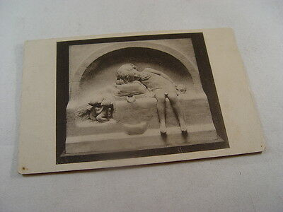 OTH518 - Postcard - Unknown Stone Carving? Little Girl Sleeping 1931