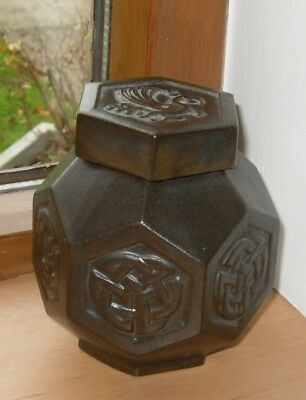 Tyn Llan Welsh Pottery Hexagonal Ginger Jar - 10 cm High x 8 cm Wide - VGC