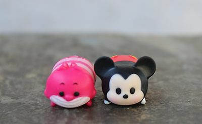 """Disney Vinyl Tsum Tsums Mickey Mouse and Cheshire Cat Small LESS Than 1"""" Length"""