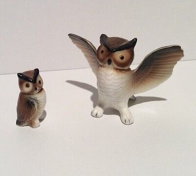 2 Vintage Bone China Owls Miniature Figurines Collectibles