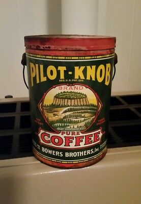 Vintage Pilot Knob Coffee Tin 3lbs. Bowers Bros. Richmond Va