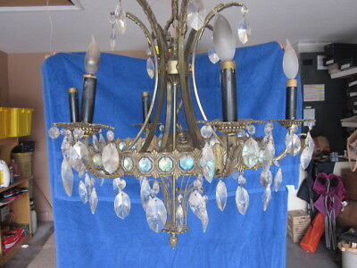 Vintage  Brass & Crystal Prisms 6 Arm Chandelier early 1900 s